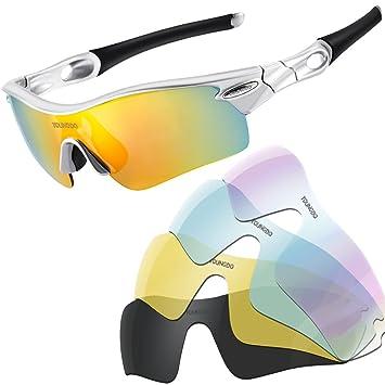 52bac4bfee ... Gafas de Sol de Deporte Polarizadas TR90 Marco y 5 Lentes  Intercambiables UV400 Protección para Deportes Pesca Esquí conducción Golf  Correr Ciclismo: ...
