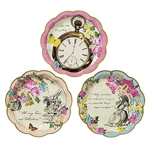Talking Tables Truly Alice Mad Hatter Tea Party Plates for Parties/Wedding, Mixed (36 Pack) by Talking Tables