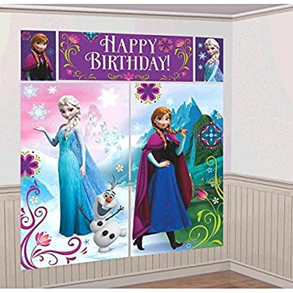 Amscan Disney Frozen Birthday Party Scene Setters Wall Decorating Kit (5  Pack), Multi