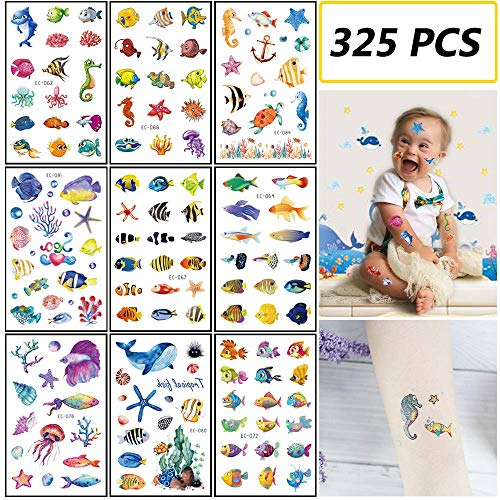 TSLin 325 PCS Ocean Animals Temporary Tattoos/Stickers for Kids - Carnival Baby Shower/Birthday Party Supplies Under The Sea/Tropical Fish/Luau Party Goodie Bag Stuffers Favors(24 Sheets) -