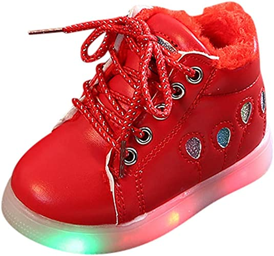 Child Toddler Boys Girls Fashion Ballon Sequins Zip Led Light Luminous Sport Short Boots Shoes 1-6 Years Old