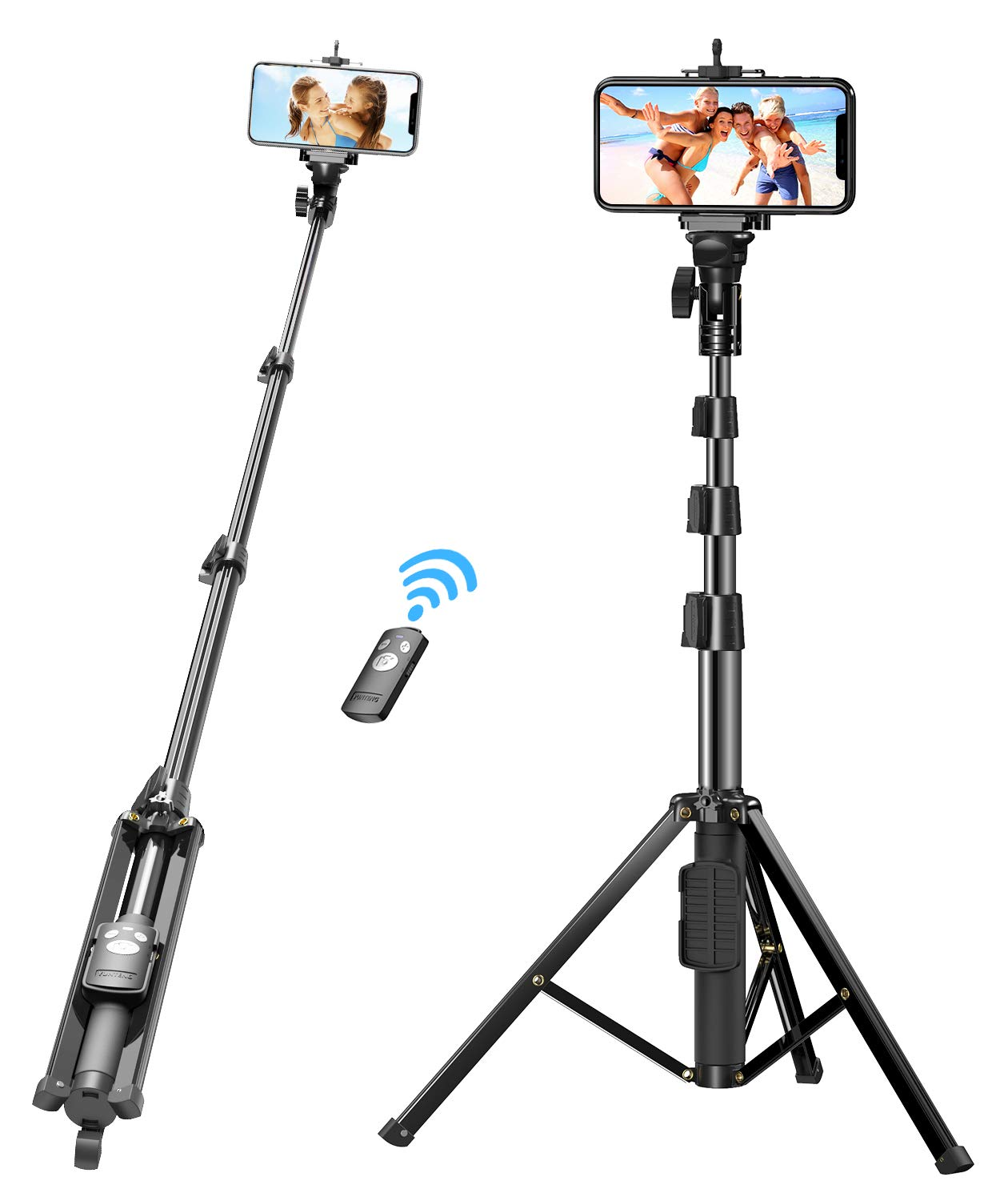 Babacom Selfie Stick, 133cm Extendable Stable Phone Tripod with Detachable Bluetooth Remote, Compatible with iPhone 12 Pro/12/12 Mini/11/XS Max/XR/X/8 Plus, Samsung Note 10 Plus/S20/S10, Gopro, Camera