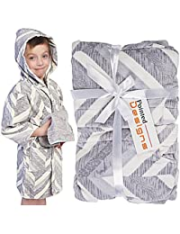 Bathrobe for Kids - Hooded Childrens Robe Gift Set With Washcloths 100% Cotton by Pointed Designs