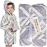 Pointed Designs Bathrobe for Kids - Hooded Childrens Robe Gift Set With Washcloths 100% Cotton by