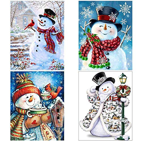 Skedee 4 Pack 5D DIY Diamond Painting Kits Snowman Full Drill Rhinestone Embroidery Cross Stitch Painting for Christmas Home Wall Decor