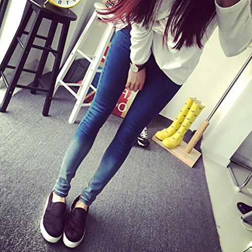 Alto Mujer marino Jeans Pantalones Slim Vaqueros Skinny Tejanos Tiro Fit Elastico Denim Azul xfwntrxd