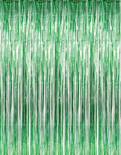 Green Banner (3 ft. X 8 ft. Metallic Green Foil Fringe Curtains Door Window Curtain Party Decoration- (2 Piece, Green))