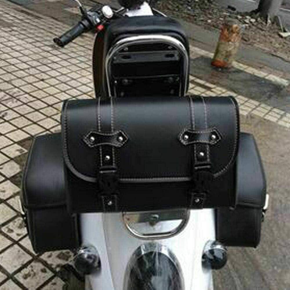 Maso Motorrad Satteltasche Universal Gepäck Pu Leder Tasche Aufbewahrung Mit 2 Befestigungsgurten Schwarz Auto