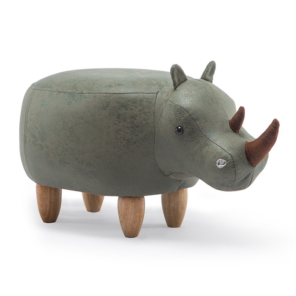 PLL Cartoon Creative Green Rhinoceros Modelling Footstool Solid Wood Shoes Stool Sofa Footstool Hall Stool Storage Stool (Color : A) BSY