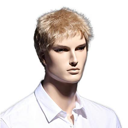 Amazon 6inch Straight Golden Short Wig Natural Hair Men Heat