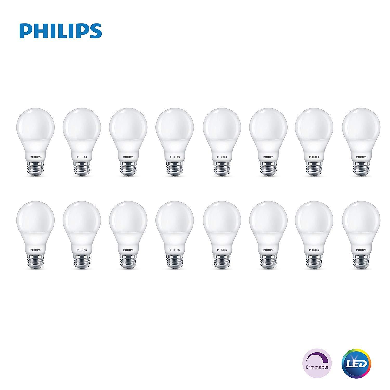 Philips LED Dimmable A19 Soft White Light Bulb with Warm Glow Effect: 800-Lumen, 2700-2200-Kelvin, 9.5-Watt (60-Watt Equivalent), E26 Base (16-Pack)