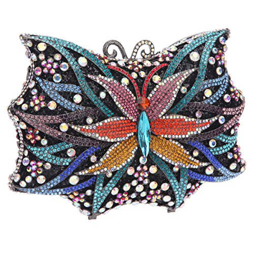 Ladies Purse Blue Bonjanvye Bag Shining Evening Butterfly For Shape Handbags Clutch wwUAXf8Fq