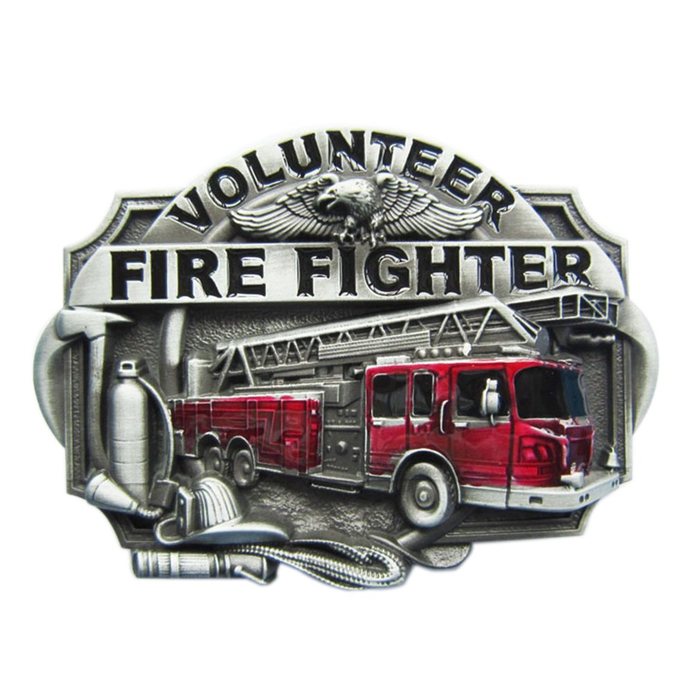 New Vintage Enamel Volunteer Firefighter Fire Belt Buckle also Stock in US