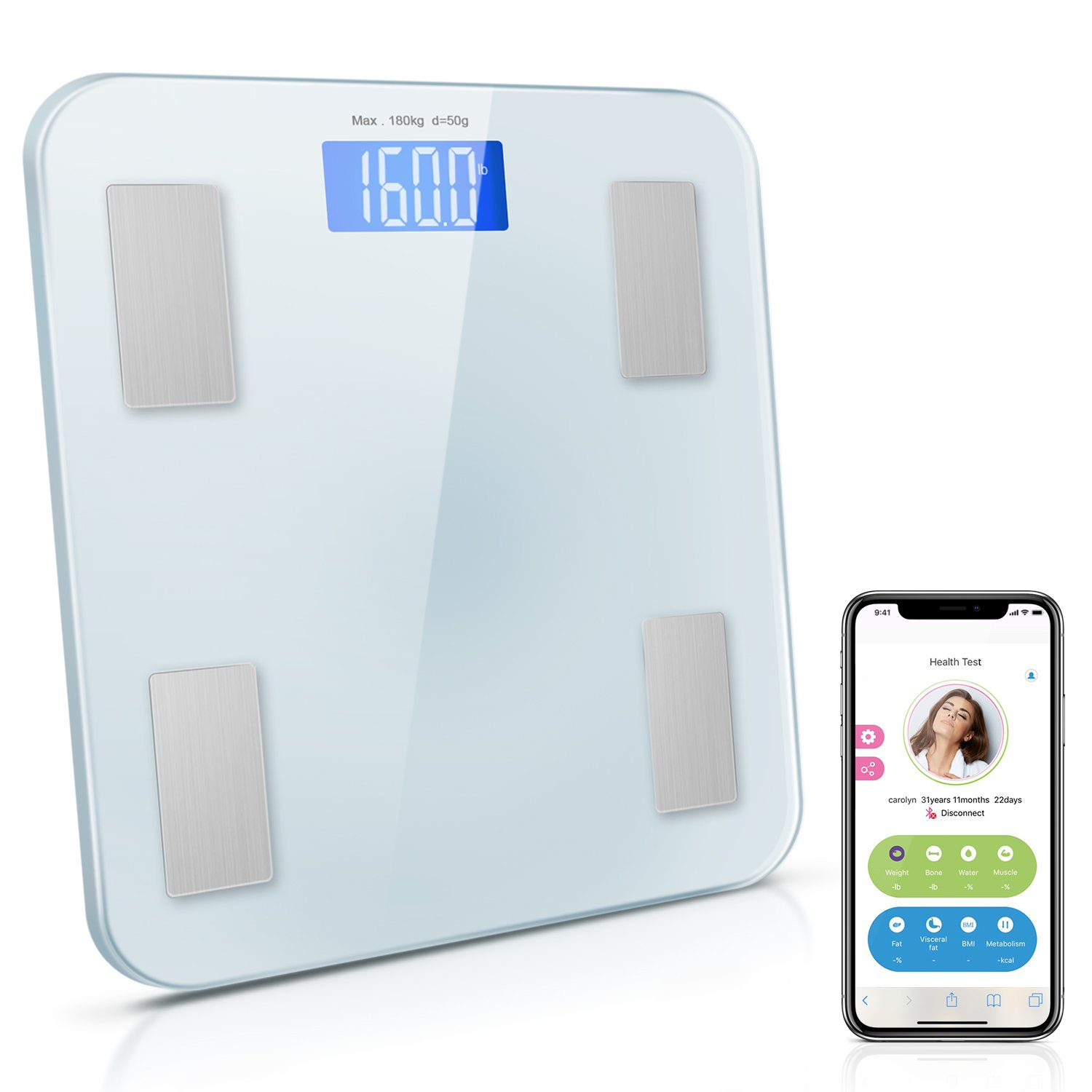 Adoric Smart Scale Bathroom Scale with Free APP for Android and IOS, Body Composition Analysis Measuring Weight, Bone, Water, Muscle, Fat, BMI, BMR