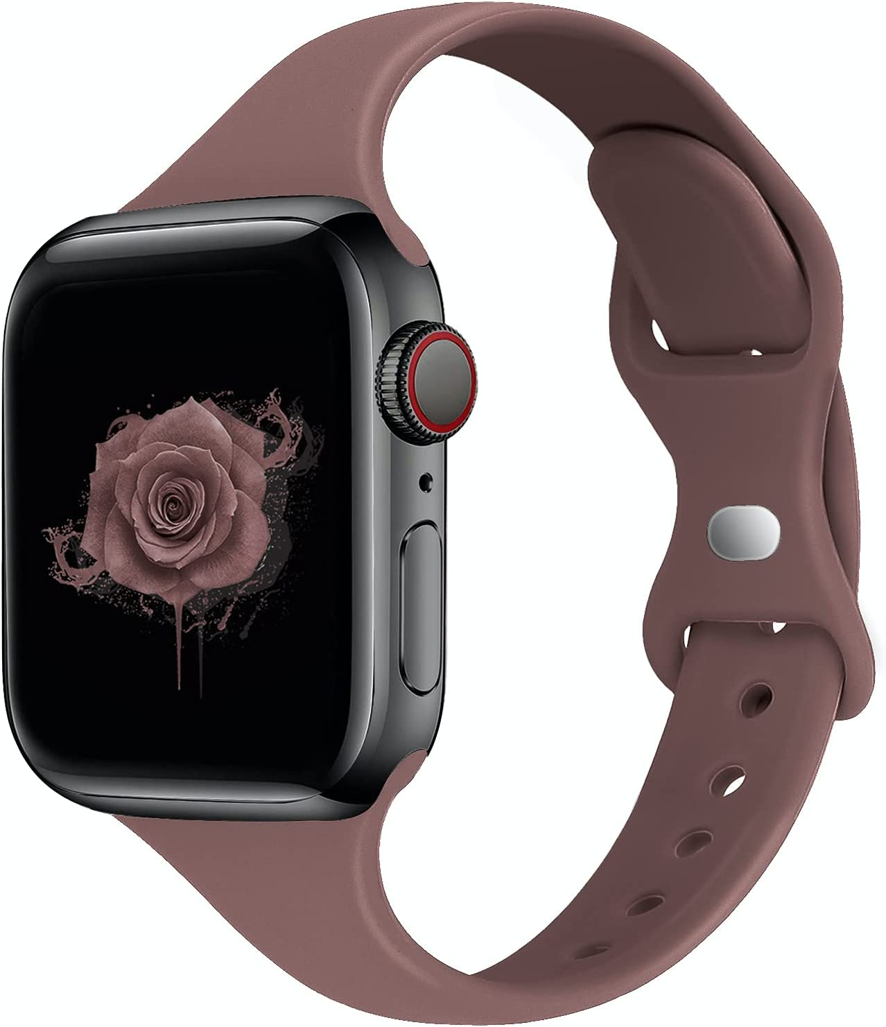 STG Sport Band Compatible with Apple Watch 38mm 40mm 42mm 44mm, Soft Silicone Slim Thin Narrow Replacement Strap Compatible for iWatch SE Series 6/5/4/3/2/1 (Sea Fog, 38/40mm)