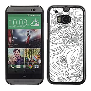 For HTC One M8 Case , Pattern Geology Lines Map Height - Diseño Patrón Teléfono Caso Cubierta Case Bumper Duro Protección Case Cover Funda