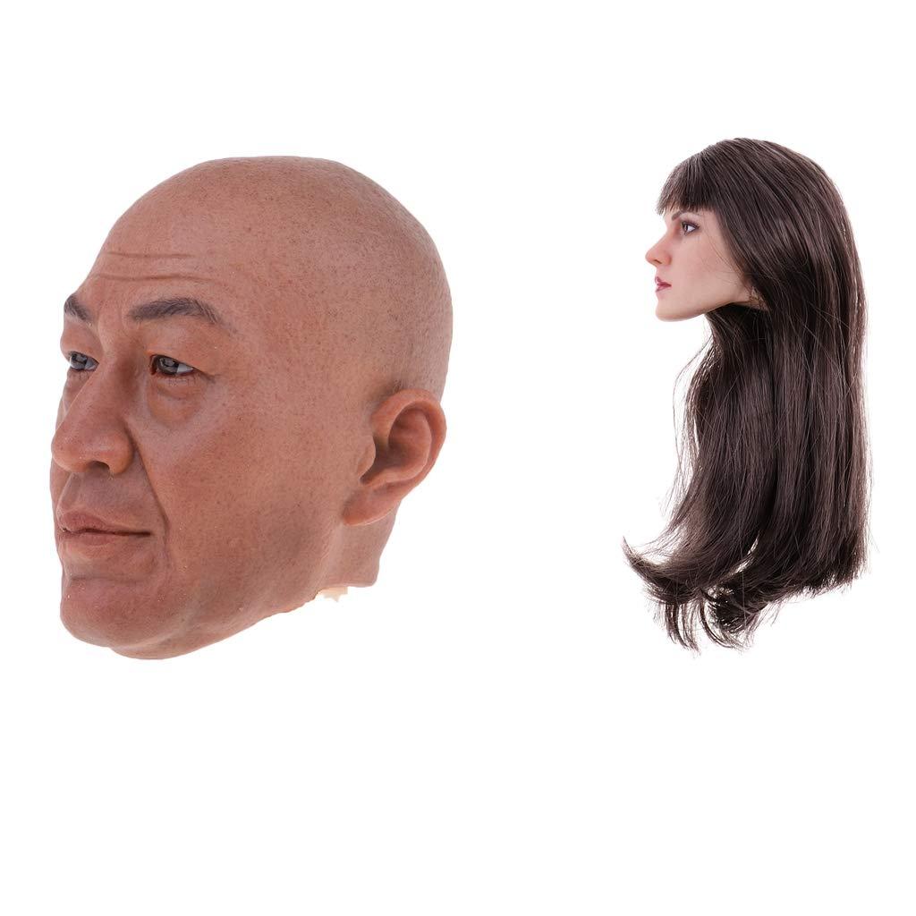 Sharplace 1/6 Skala Kopf Headsculpt für 12 Zoll Action Figur, Alter Mann + niedliches Mädchen