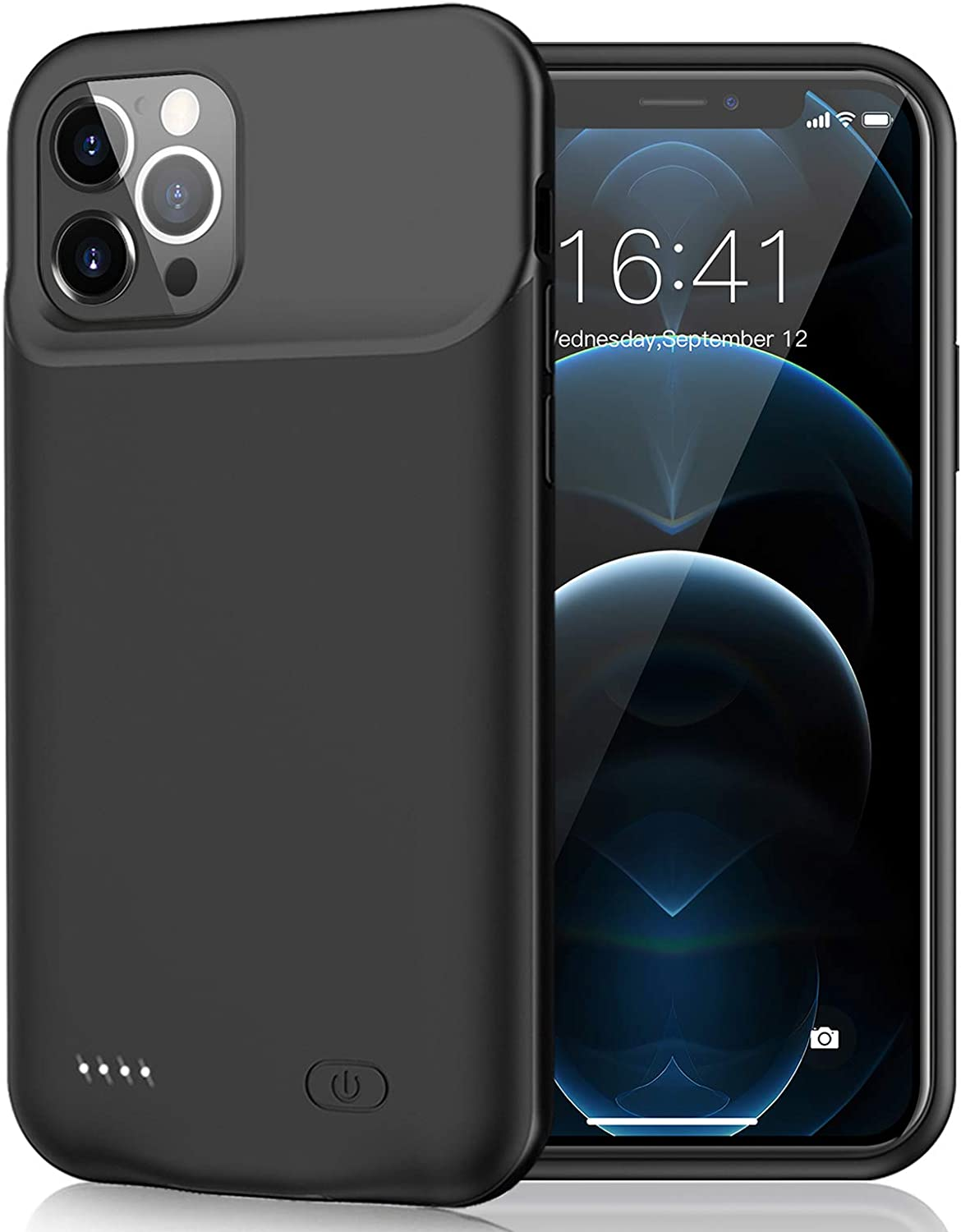 Battery Case for iPhone 12 Pro/iPhone12, 7000mAh Slim Portable Rechargeable Battery Pack Charging Case Compatible with iPhone 12 Pro/iPhone12 (6.1 inch) Extended Battery Charger Case-Black