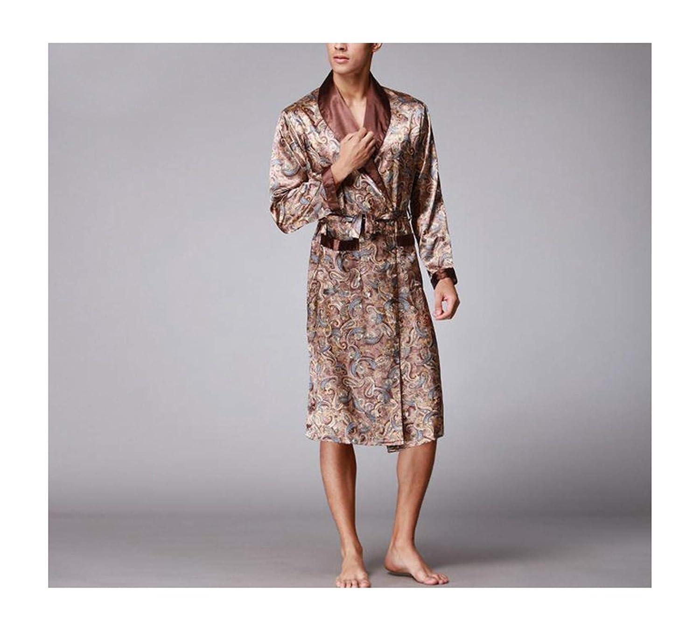 Male Silk Kimono Bath Robe Gown Chinese Mens Rayon ...