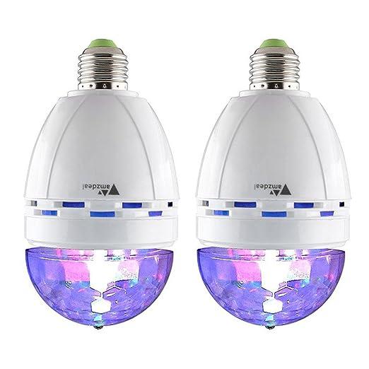 022e1c14e12 Amzdeal - Bombilla giratoria con efectos luminosos tipo discoteca (2 x E27