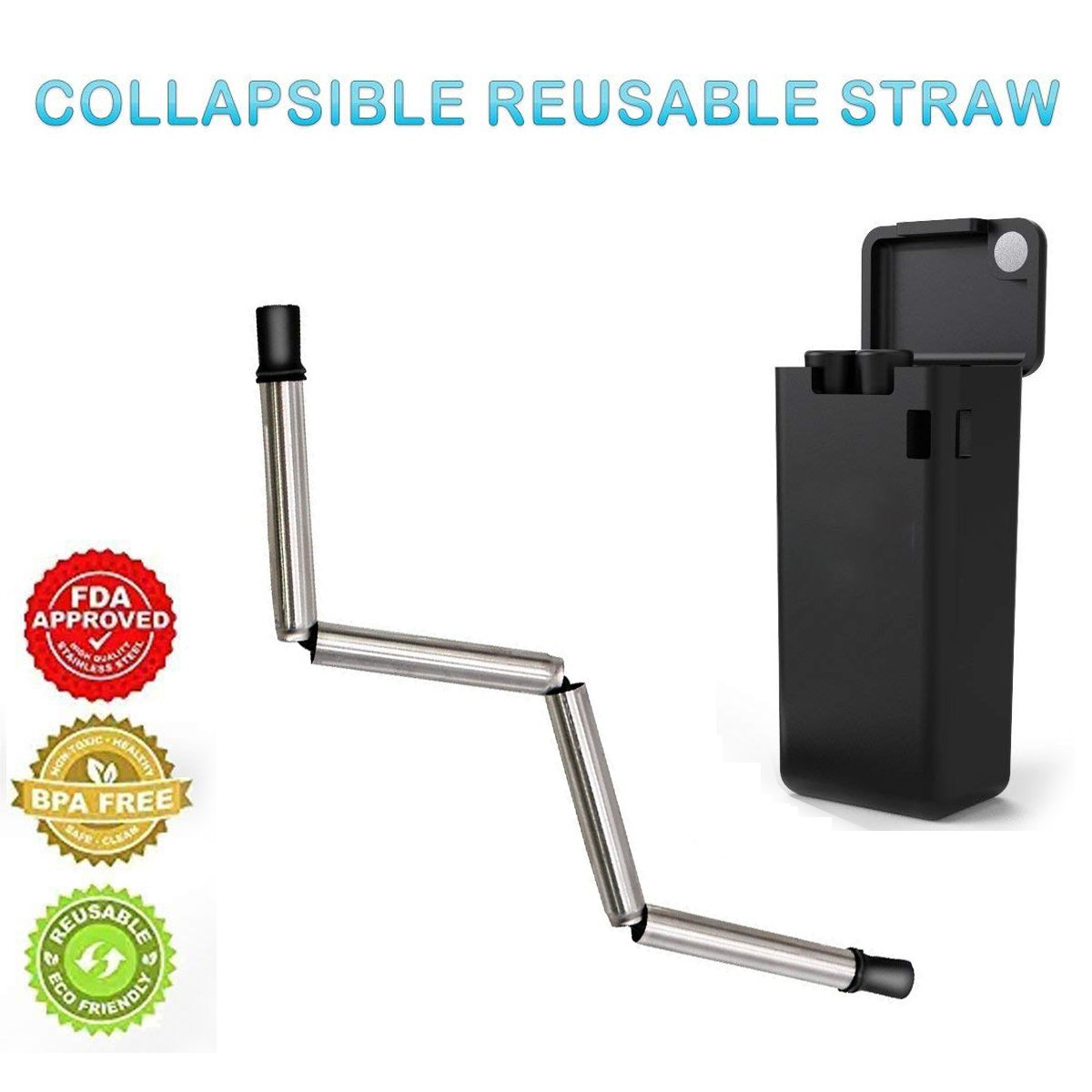 Collapsible Drinking Straw Stainless Steel, Zero Waste Medical Grade Food Grade Final Reusable Folding Drink Straw Travel Portable with Hard Case and Cleaning Brush