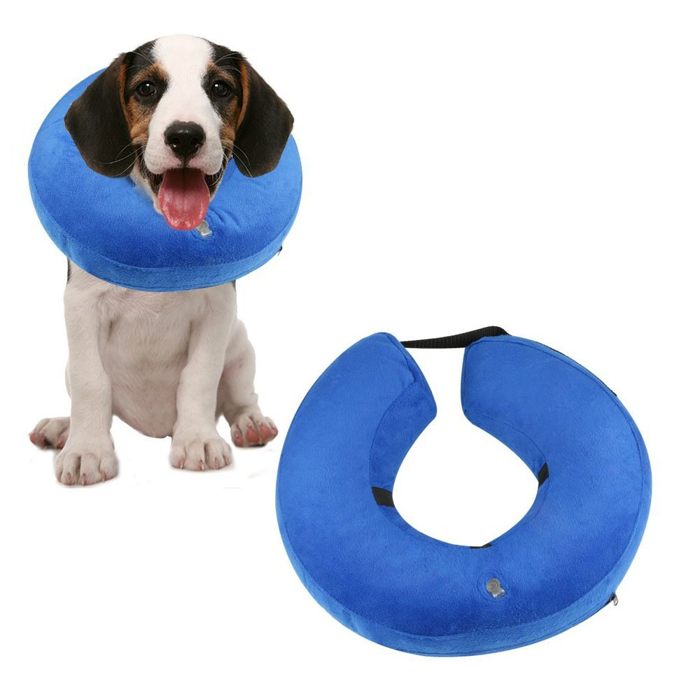 DOSEL Protective Inflatable Dogs Collar, Soft Pet Recovery E-Collar for Dogs and Cats, Prevent Pets From Touching Stitches(NECK CIR 6''-12'')