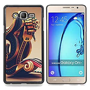 - Pharaoh Gold Bling Design Black - - Snap-On Rugged Hard Cover Case Funny HouseFOR Samsung Galaxy On7 G6000