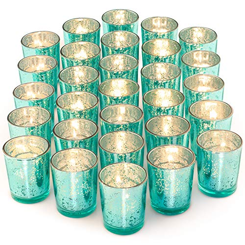 Tea Light Holders (Letine Glass Votive Candle Holders Set of 36 - Speckled Mercury Aquamarine Tealight Candle Holder Bulk - Ideal for Wedding Centerpieces & Home)