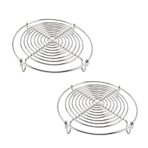 Round Steamer Rack and Cooling Rack,Wire Steamer Kettle Rack Holder Fit For All Pots Pans Up,Stainless Steel For Cooking 5-Inches (2)