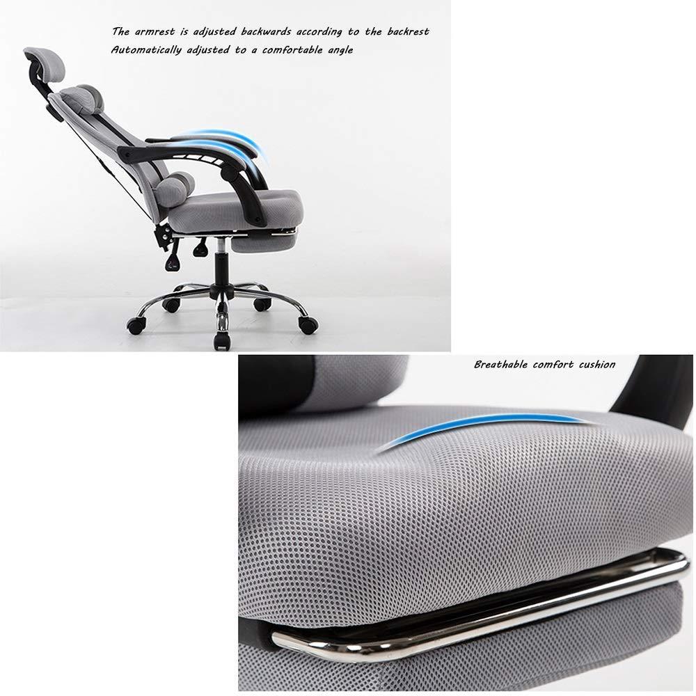 JIEER-C stol svängbar stol kontorsstol, med fotstöd vilande datorstol ergonomi hög rygg höjande roterande spelstol med nackstöd och ryggstöd, grå Svart