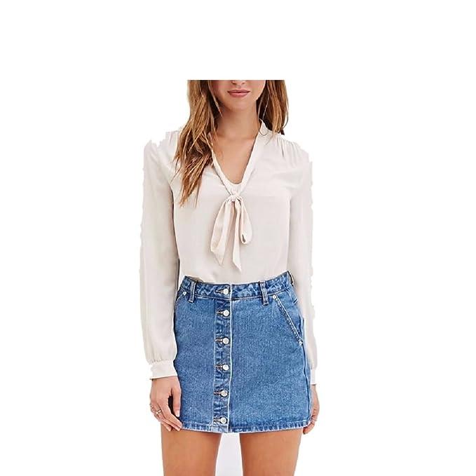 FuweiEncore Blusas para Mujer Blusa con Cuello en V de Gasa Camisas Ocasionales Blusas de Manga Larga con Cuello en V Tops con Lazo: Amazon.es: Ropa y ...