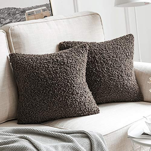 MIULEE Pack of 2 Decorative New Luxury Series Style Chocolate Faux Fur Throw Pillow Covers Super Soft Wool Pillow Cases Cushion Covers for Sofa Bedroom Living Room 18x18 Inch 45x45 cm