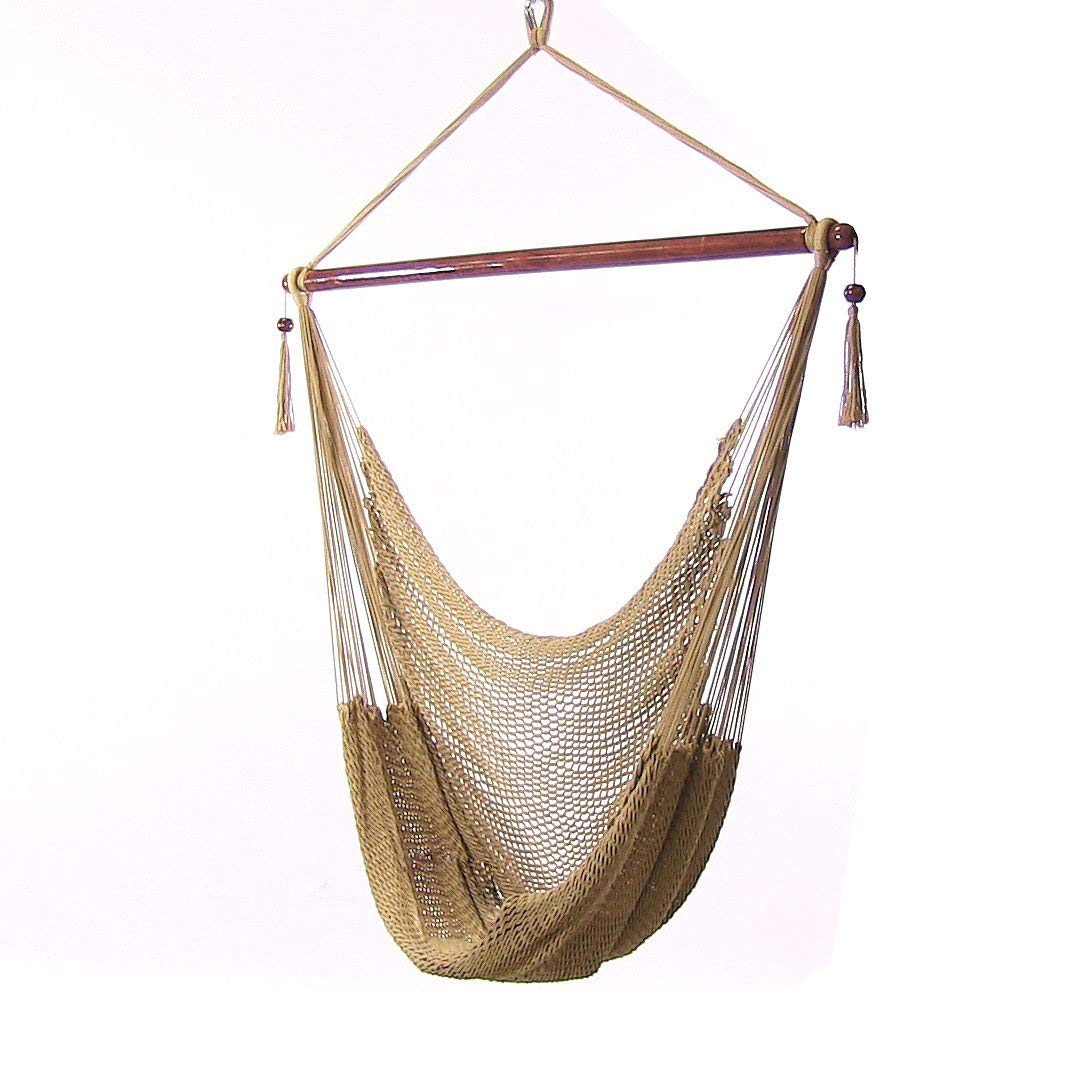 Sunnydaze Hanging Rope Hammock Chair Swing, Extra Large Caribbean, Tan - For Indoor or Outdoor Patio, Yard, Porch, and Bedroom