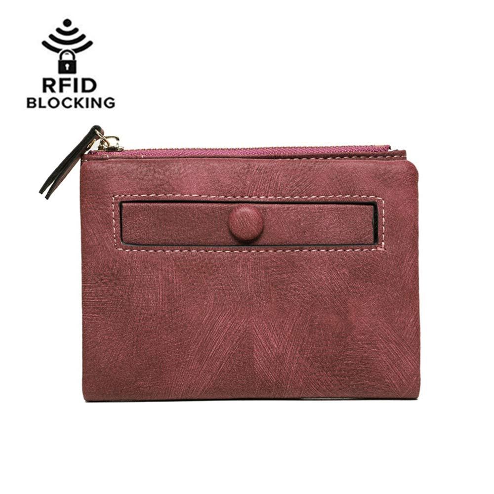 Womens RFID Blocking Short Wallet Large Capacity Card Holder Cash Coin Organizer (Wine)