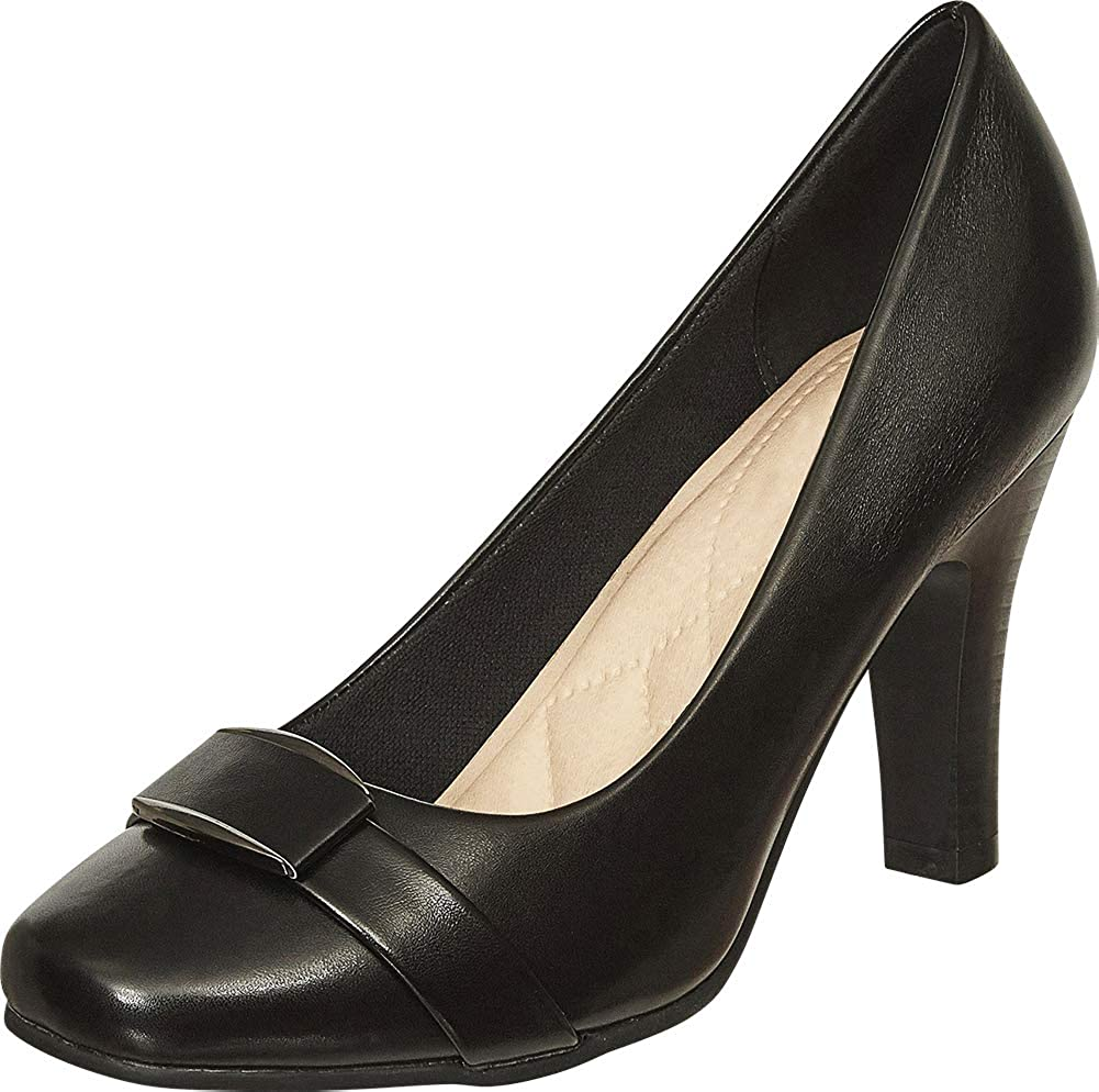 Black Pu Cambridge Select Women's Square Toe Padded Comfort Tapered High Heel Pump