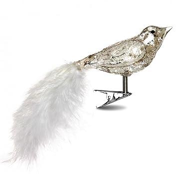 Sikora Christbaumschmuck Glas Ornament Clip Vogel Mit Federn Und
