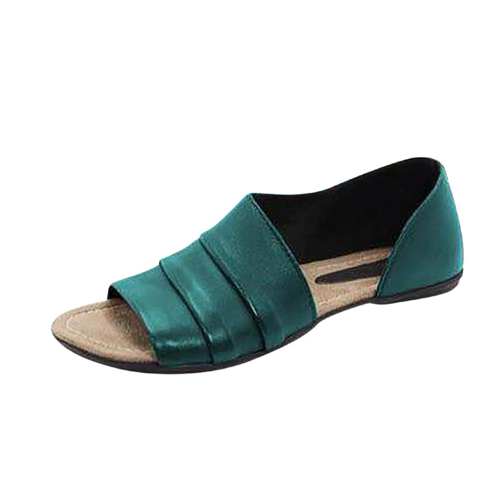 Womens Peep Toe Side Cutout D'Orsay Shoes Summer Slip on Sandals Slides Slippers Army Green