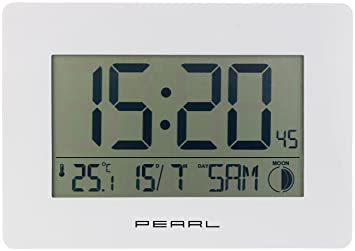 Funk Wanduhren Wohnzimmer ~ Pearl lcd uhr: funk wanduhr mit jumbo uhrzeit temperatur & datums