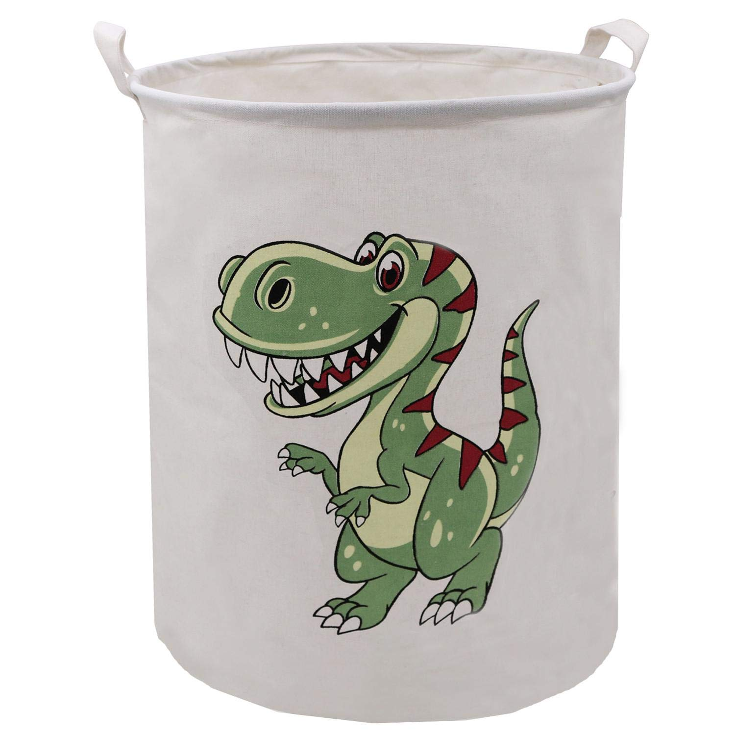 Green Dinosaur Laundry Hamper 19.7x15.7 Inch, ZUEXT Canvas Fabric Lightweight Storage Basket/Toy Bins/Collapsible Dirty Clothes Hamper, Waterproof Dino Gift Basket for Kids Bedroom Baby Nursery