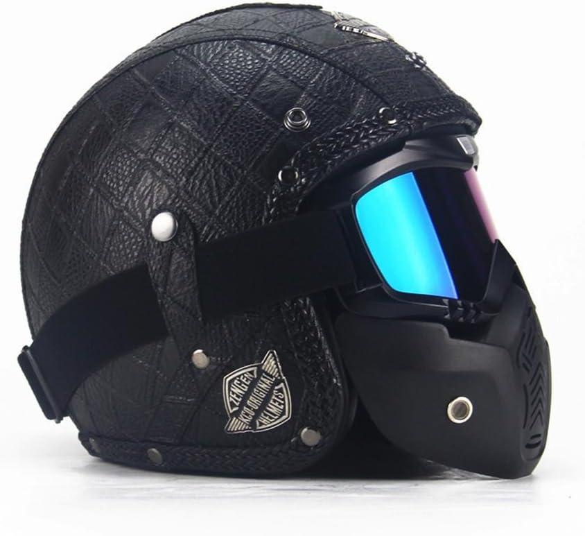 Blue-Yan Casques int/égraux de Moto pour Hommes Femmes Casques de cyclotourisme Vintage Cruisers Scooter Chopper