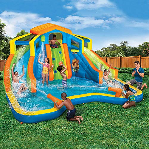 (BANZAI 90369 Adventure Club Water Park Inflatable 2 Lane Water Slide Splash Pool)