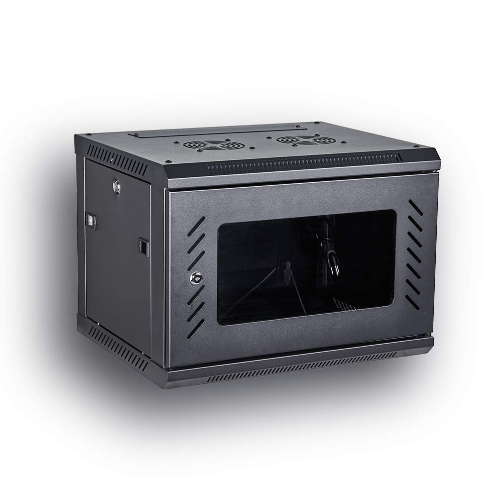 KENUCO [Fully Assembled] Deluxe IT Wall Mount Cabinet | Server Rack | Data Network Enclosure 19-Inch Server Network Rack with Locking Tempered Glass Door (Black 6U) by KENUCO