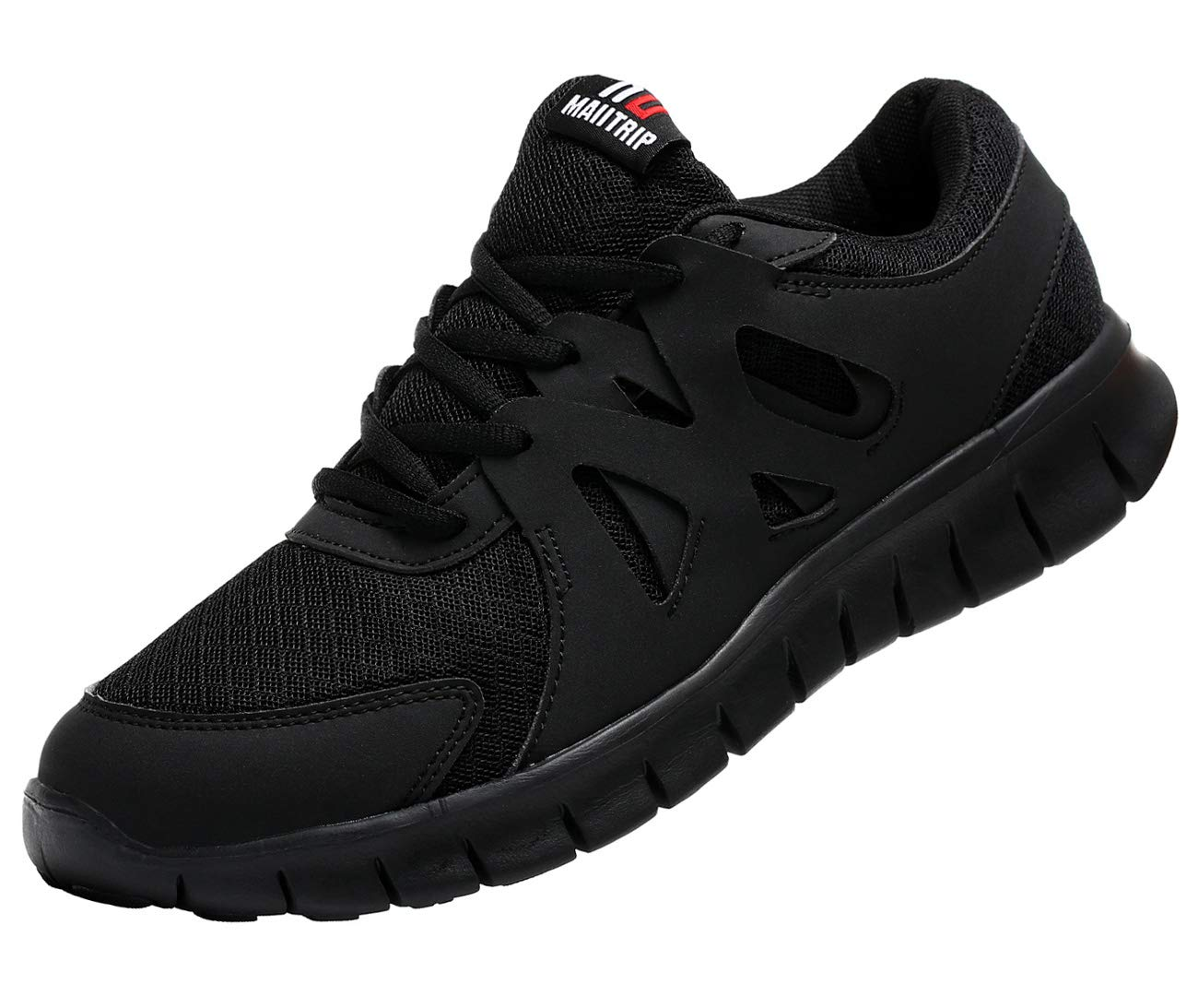 MAIITRIP Men's Running Shoes, Lightweight Non-Slip Gym Athletic Sneakers, Breathable Sport Causal Tennis Walking Shoes. All Black, Size 11