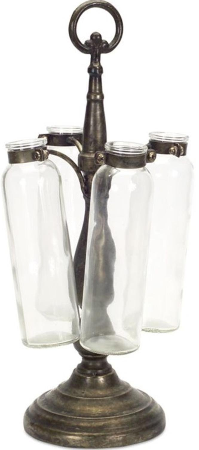 "Pack of 2 Decorative Antique Gray Four Bottle Hanging Vase on Stand 16.5""H by Melrose"