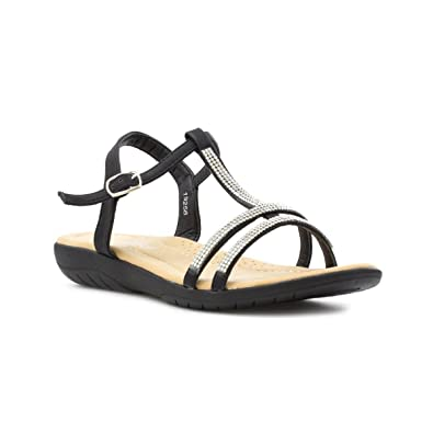 ae0848e193c Lilley Womens Black Wide Fit Diamante Sandal - Size 9 UK - Black ...