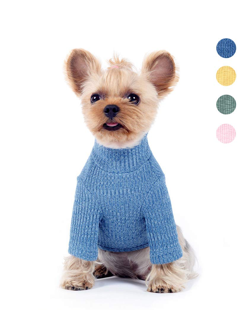 bluee Back Length 7.5\ bluee Back Length 7.5\ U2Paw 2019 New Spring & Summer Classic Dog Knitwear Sweater Puppy Pet Coat Soft Sweater Clothing for Small and Medium Dogs,bluee S