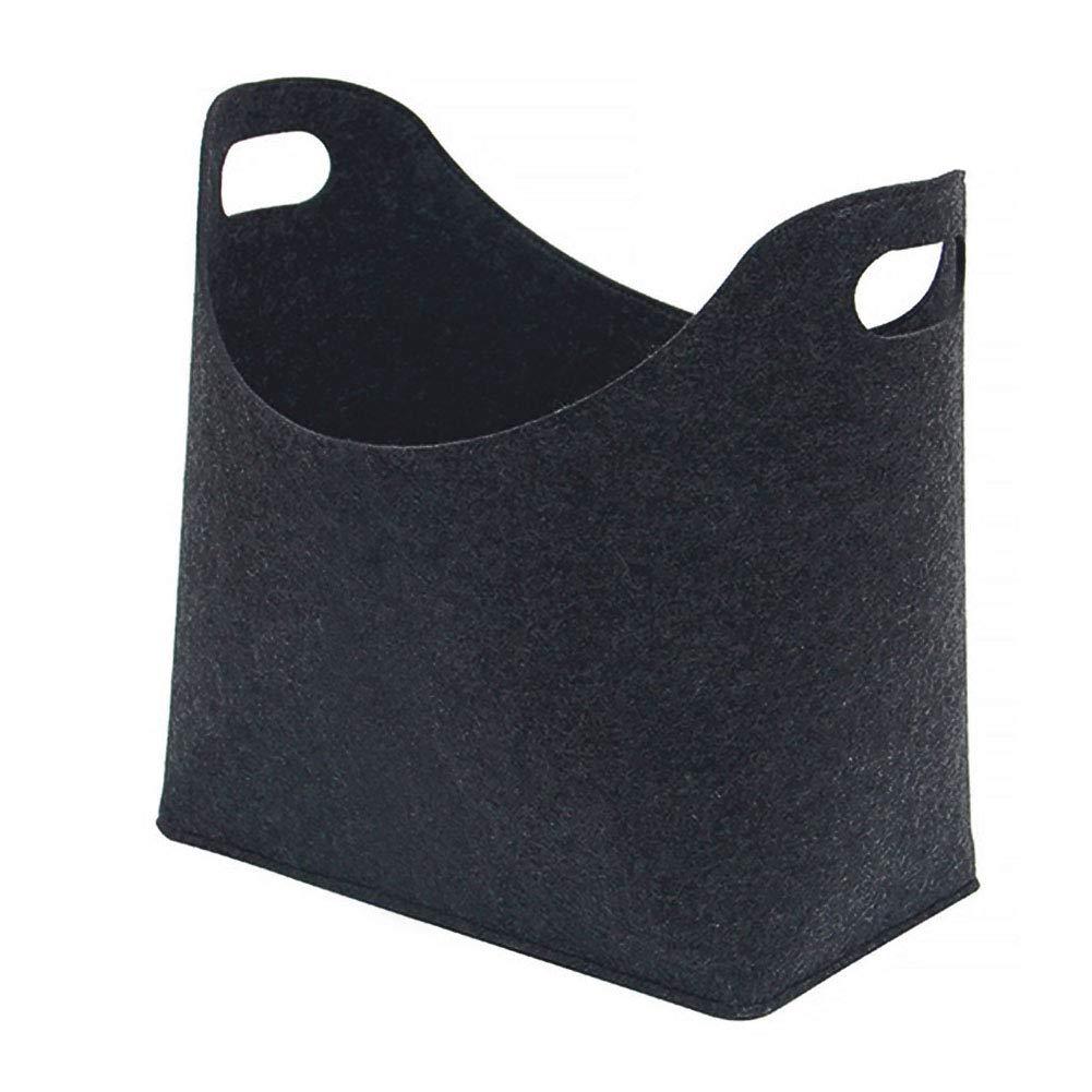 Panier de rangement en feutre avec poign/ée pour le transport de jouets et journaux free size gris fonc/é
