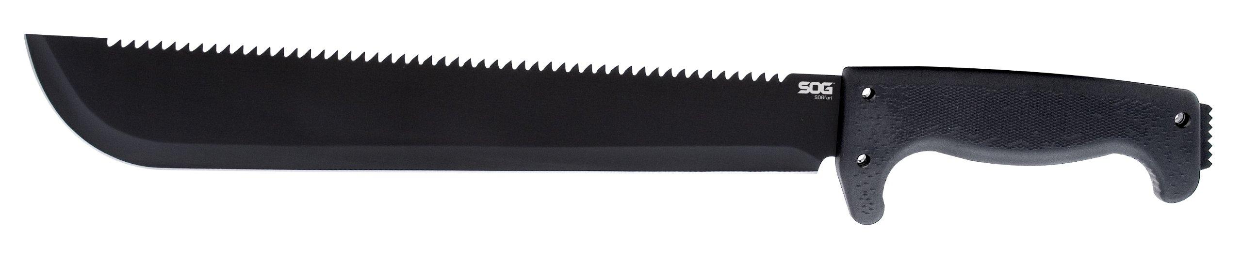 SOG SOGfari 13'''' Machete MC01-N - Hardcased Black Blade w/Saw Back, Rubber Handle, Nylon Sheath