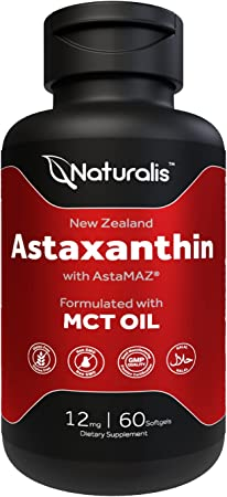 Naturalis New Zealand Astaxanthin (12mg) | Enhanced with Natural Vitamin E | Non-GMO, Soy & Gluten Free | 60 Softgels (2 Month Supply)
