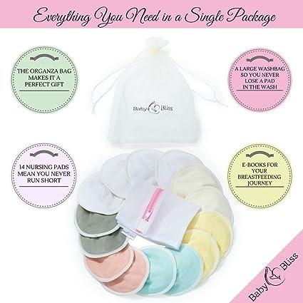 Almohadillas de lactancia de bamb/ú org/ánico suaves y absorbentes reutilizables con bolsas de organza y lavado regalo de Baby Shower a prueba de fugas lavables